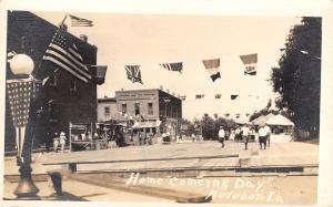 Audubon Iowa~Homecoming Day~Street Carnival~WWI Era Allies Flags~c1918 RPPC
