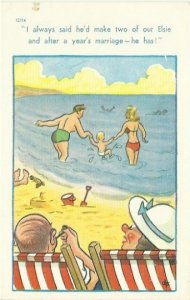 Vintage Postcard Comical Artist Signed DF Saucy Seaside - Beach - Swimming