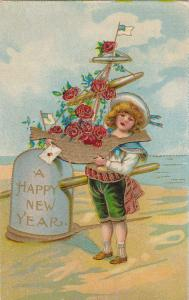 A Happy New Year, 00-10sChild holding toy Sail Vessel, Red Roses, Sealed envelo