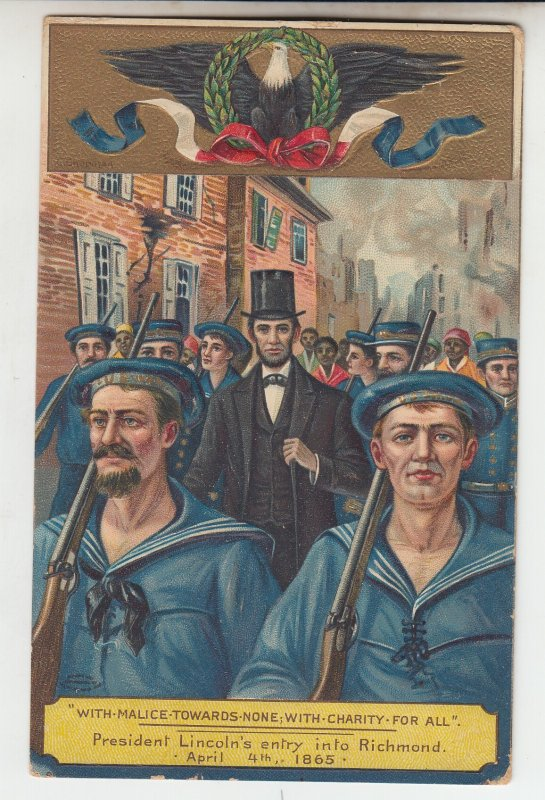 P2064 1913 patriotic postcard president lincoln,s entry into richmond w/troops