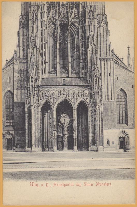 Ulm Germany- Front Door of Ulmer Münster-Ulm a.D. Hauptportal des Ulmer Munsters