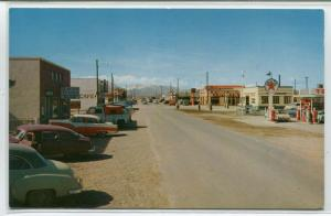 Main Street Cars Texaco Phillips 66 Gas Station Browning Montana postcard