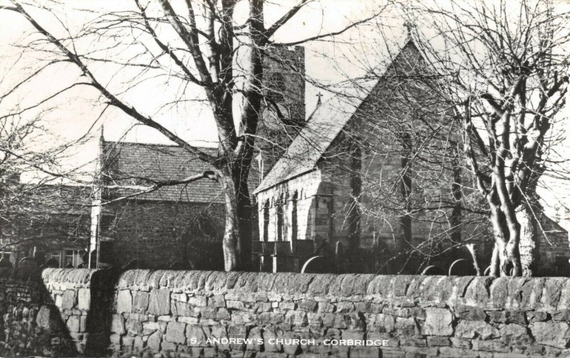Vintage Real Photo Postcard, St. Andrews Church, Corbridge, Northumberland 79X