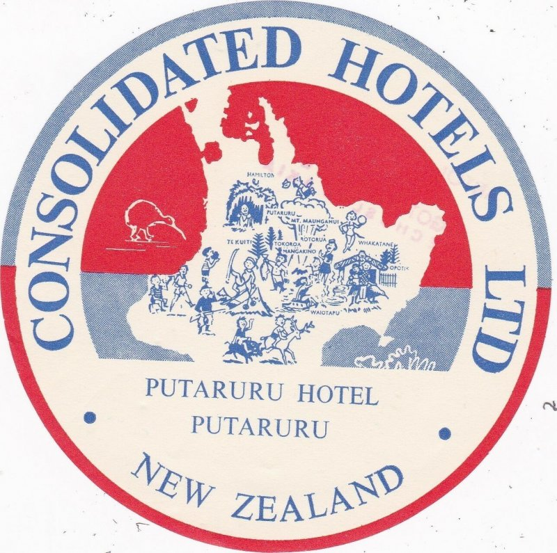 New Zealand Putaruru Hotel Putaruru Vintage Luggage Label sk3785