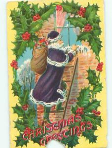 Pre-Linen Christmas RARE PURPLE SANTA CLAUS AT THE WINDOW AB5037