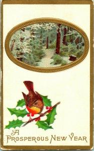 Vtg Postcard Winsch Back 1910s A Prosperous New Year Unused Embossed Gilded Bird