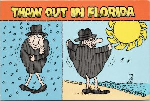 'Thaw Out In Florida' Man at Beach Comic Funny Humour Sun Rain Postcard C3