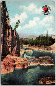1913 NORTHERN PACIFIC RAILROAD Advertising Postcard Cabinet Gorge, Idaho