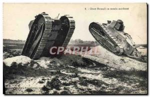 Postcard Old Army Tank Tank Renault in field accident