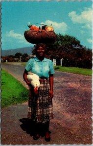 1960s JAMAICA Postcard Returning from Market Street Scene Dexter Chrome Unused
