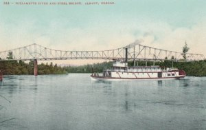 ALBANY, Oregon, 1900-10s; Willamette River And Steel Bridge, Ship