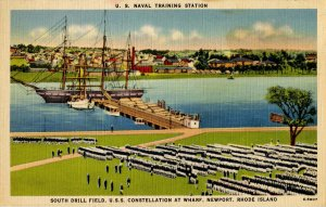 RI - Newport. US Naval Training Station, USS Constellation at Wharf
