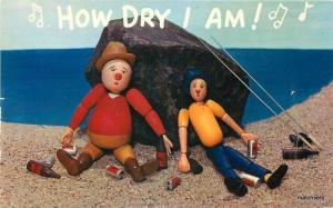 Colorpicture 1950s Drunk Doll Fisherman Humor Music postcard 9296