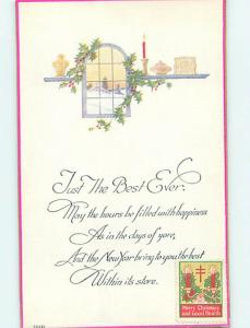 1925 Christmas SEAL STAMP ON NEW YEAR POSTCARD HQ7977