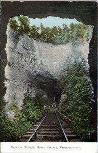 1910 NATURAL TUNNEL Scott County Virginia Train Tracks Railroad Bell Postcard ET