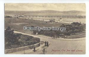 tq1429 - Early View of the Pier from the Seafront Lawns, in Paignton - postcard