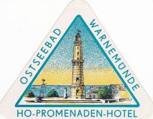 GERMANY OPSTSEEBAD WARNEMUENDE PROMENADEN HOTEL VINTAGE LUGGAGE LABEL