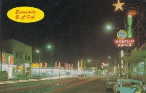 Juarez Avenue by Night Ensenada Mexico Evening Illuminations Postcard