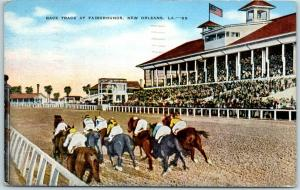 New Orleans, Louisiana Postcard RACE TRACK AT FAIRGROUNDS Horse Racing Linen
