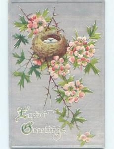 Pre-Linen easter EGGS IN BIRD NEST ON PINK FLOWERING TREE BRANCH HL0992