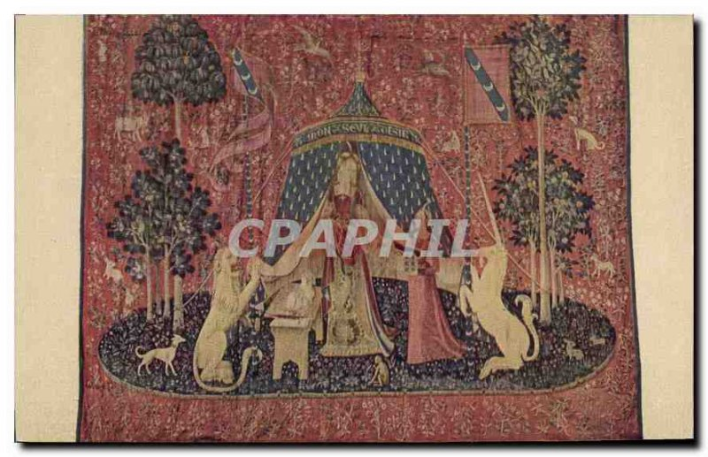 Postcard Old tapestry called the Lady and the Unicorn Cluny Museum Paris