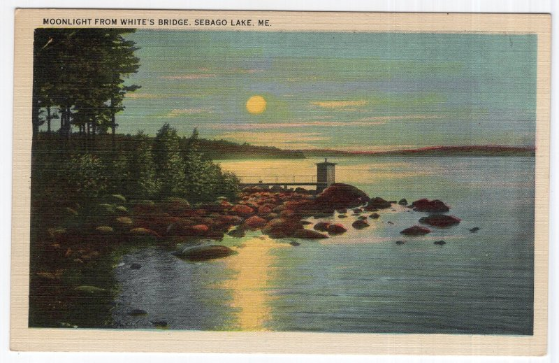 Sebago Lake, Me, Moonlight From White's Bridge
