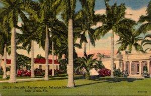 Florida Lake Worth Beautiful Residences On Lakeside Drive 1955 Curteich