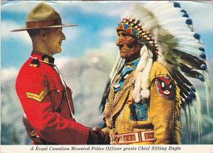 Royal Canadian Mounted Police Officer Greeting Indian Chief Sitting Eagle