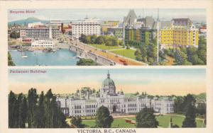 2 Scenic views, showing The Empress Hotel and Parliament Buildings, Victoria,...