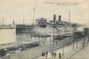 Egypt Port Said ship of the P. R. O. in port postcard