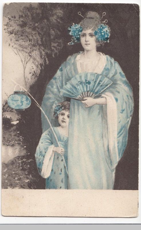 Woman With Oriental Dress & Child With Chinese Lantern PPC By Stewart & Woolf