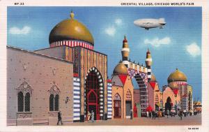 Oriental Village, Chicago World's Fair 1933, Linen Postcard, Unused