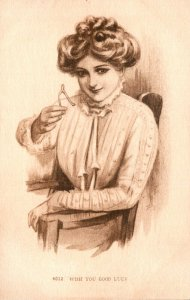 Beautiful Lady With Wish Bone Wish You Were Here 1910