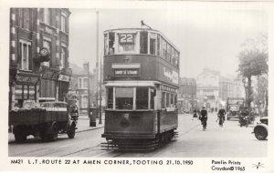 LT Route 22 Bus at Amen Corner Tooting London Real Photo Postcard