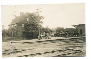 Westbrook ME Railroad Station Train Depot RPPC Real Photo Postcard