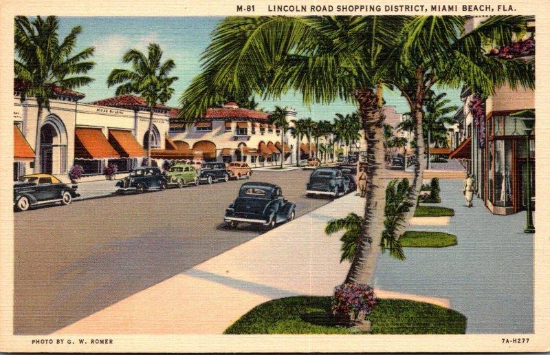 Florida Miami Beach View Of Lincoln Road Shopping District Curteich