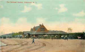 Lakewood New Jersey~Railroad Station~Passenger Depot~Vintage Cars~Buggies~1908