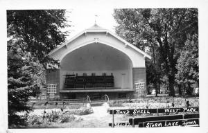 Storm Lake Iowa~West Park Band Shell~Bleachers Stacked Up~1949 Real Photo~RPPC