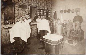 Barbershop Barbers Customers Daykin Nebraska NE Postmark 1909 RPPC Postcard E64
