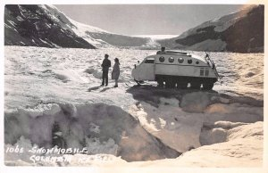 RPPC Snowmobile Columbia Ice Fields Canadian Rockies Vintage Postcard ca 1940s