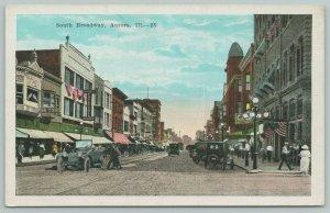 Aurora Illinois~South Broadway~Bon Ton Chop Suey~Cafeteria~Vintage Cars~c1916