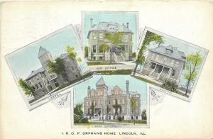 Lincoln IL~IOOF Odd Fellows Orphans Home~Main~Cottage~Hospital~Art Nouveau~1907
