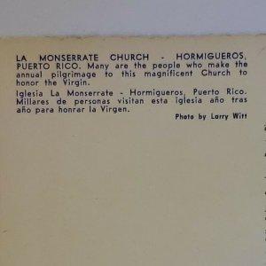 Vintage Postcard La Monserrate Church Hormigueros Puerto Rico new unposted 726