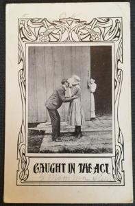 "Vintage Postcard Unused w/Writing on back ""Caught in the Act."" Kids LB"