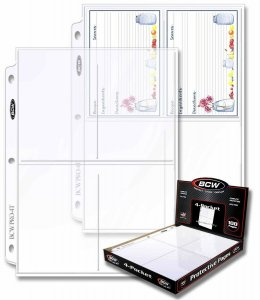 Postcard BCW Protective Pages 4 pocket Standard Size 3.5x5.25 Box 100 Pages