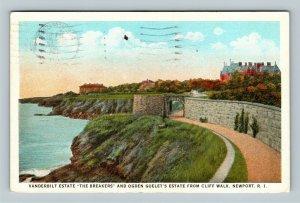 Newport RI, Vanderbilt Estate The Breakers, Vintage Rhode Island c1931 Postcard
