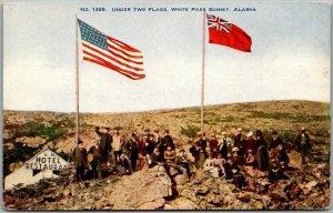 White Pass & Yukon Railway Alaska Canada Postcard Summit View UNDER TWO FLAGS