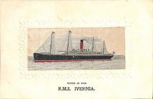 Stevengraph Woven in Silk Ship R.M.S. Ivernia Postcard