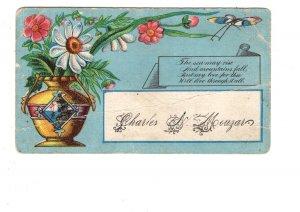 Victoria Era Calling, Visiting Card, Romantic Poem, Charles N Mouzar