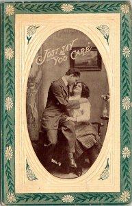 VTG Postcard Valentine Romance Just Say You Care Art Deco Unposted 1860